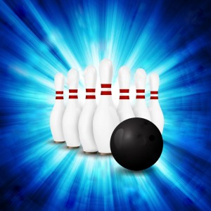 illustration of a Bowling Ball crashing and skittles.